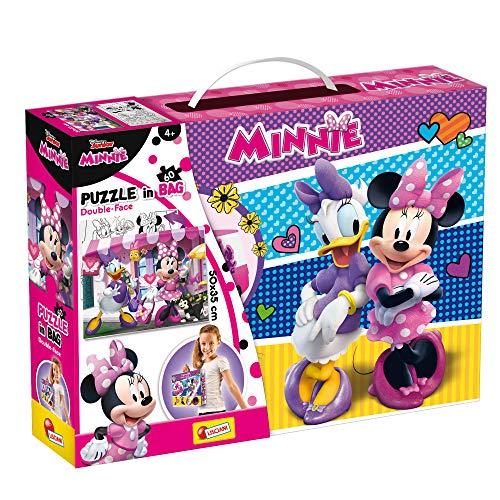 Lisciani Puzzle en Maleta de 60 piezas 2 en 1, Doble Cara con reverso para colorear - Disney Minnie 73900