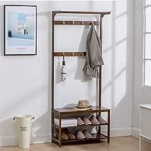 JINLINE Brown Minimalist Hall Shoe Rack Hanger Floor Shoe Rack Hanger Combination Shoe Bench Living Room Hanger, Length 50/60/70 / 80cm X Width 31cm X Height 170cm. Coat Rack (Size : M: 60cm)