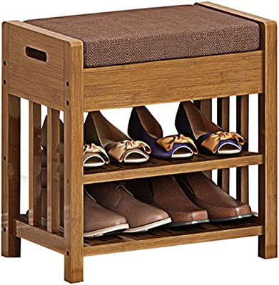 Amazon.com: HAOFAY 2 Tier Entrance Shoe Bench with Seat ...