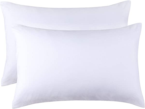 HOMBYS Super Soft Microfiber Pillow Cases Queen Size Set Of 2 Machine Washable Pillow Protectors White Breathable Pillowcases With Envelope Closure Premium Quality Queen 20 X30 White