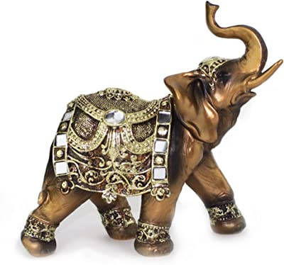 """Feng Shui 7""""(H) Brass Color Elegant Elephant Trunk Statue Wealth Lucky Figurine Home Decor Gift (G16550) ~ We Pay Your"""