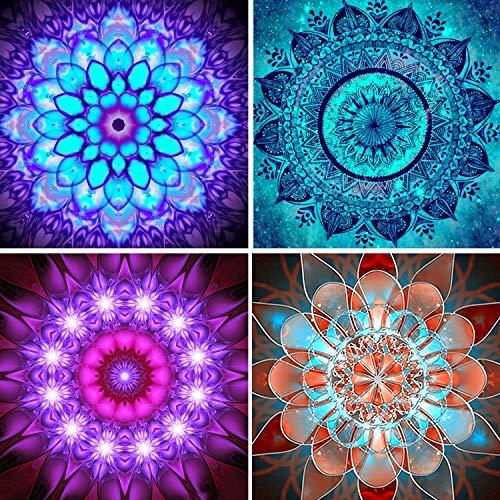 UPINS 4 Pack Mandala Flower 5D DIY Diamond Art Painting Set for Adult(25 X 25CM/10X10inch)
