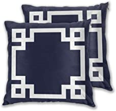 Throw Pillow Case Cushion Cover Navy Blue and White Greek Key Border Set of 2 Square Pillowcases Sham Home for Sofa Chair ...