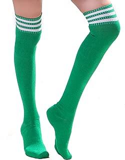 Women Three Stripe Over Knee High Socks Extra Long Athletic Sport Tube Socks