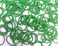 ルームバンド 補充パック セレクトカラー グリーン 600個入り 可愛いピンクラベル カラフルSクリップ12個付き レインボールーム ファンルーム DIY (グリーン(濃い緑))