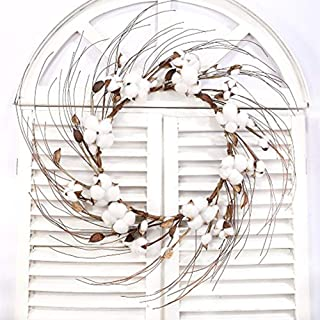 VGIA 18 inches Farmhouse Style Cotton Wreath for Farmhouse Decor for Front Door Window Wall