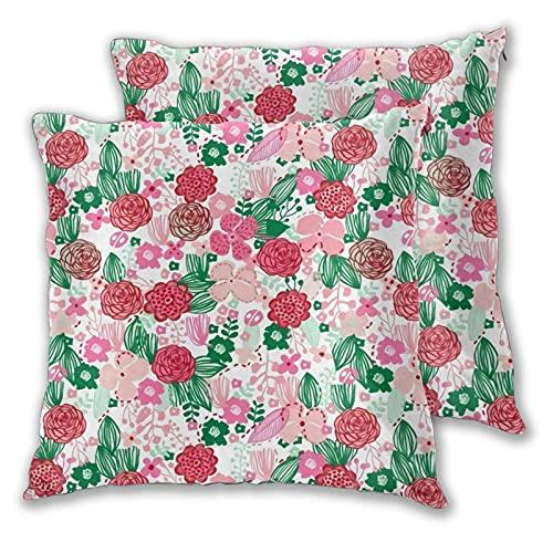 Juego de 2 fundas de almohada, diseño floral botánico, florales, naturaleza, flores frescas, fundas de almohada decorativas de dos lados para sofá, cama, sala de estar, 45,7 x 45,7 cm