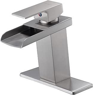 Eyekepper Nickel Brushed Waterfall Bathroom Sink Vessel faucet Lavatory Mixer Tap Open Channel Water Spout