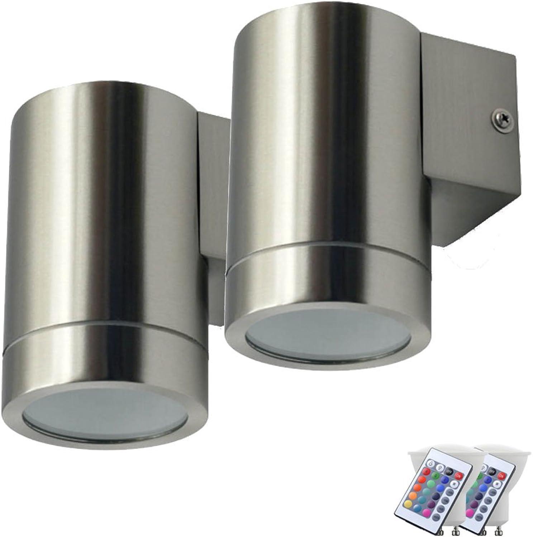 2er Set Auen Wand Lampen Fassade Fernbedienung Down Spots dimmbar im Set inkl. RGB LED Leuchtmittel