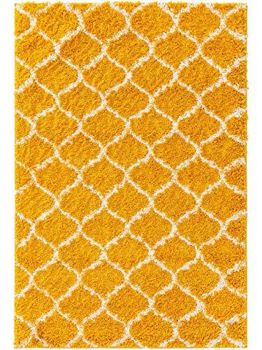 benuta Alfombra de Pelo Largo Soho, Color Amarillo, 80 x 150 cm