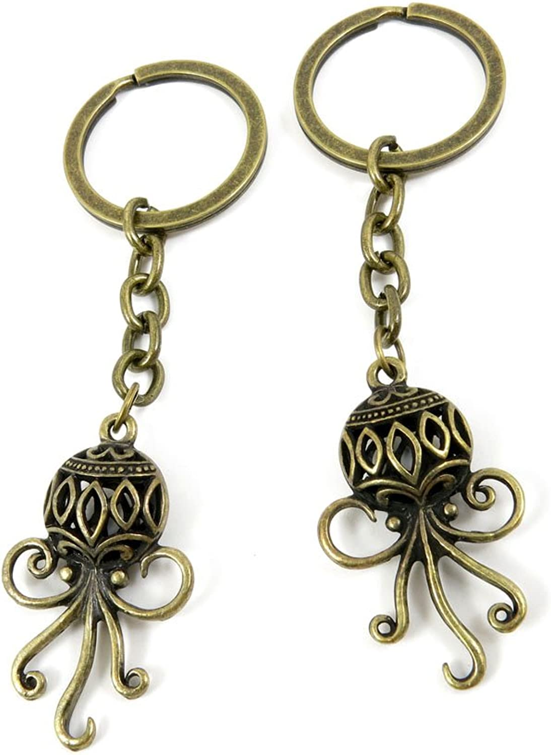 30 PCS Keyrings Keychains Key Ring Chains Tags Jewelry Findings Clasps Buckles Supplies O0DS6 Hollow Octopus