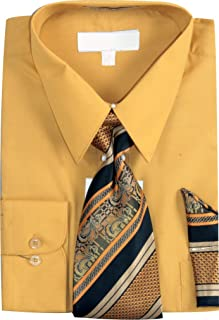 Sunrise Outlet Men's Basic Dress Shirt with a Varying Woven Tie and Hanky Set
