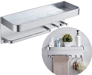 L Cloud 浴室用ラック 浴室棚アルミ製のダブルタオルバー ウォールマウント 壁掛け式 洗面台 収納浴室収納 多機能お風呂 (銀色)