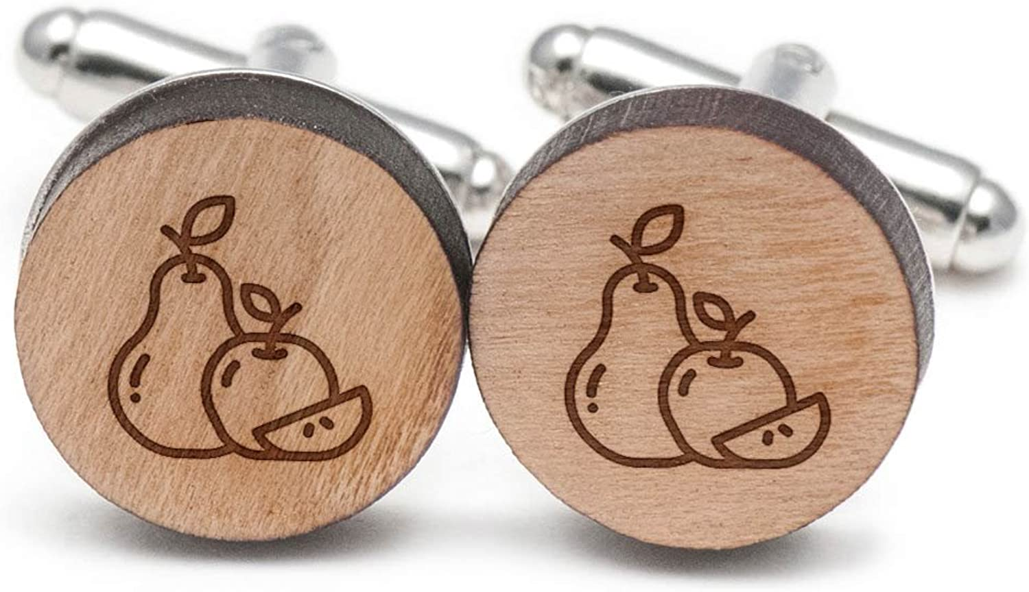 Pear And Apple Cufflinks, Wood Cufflinks Hand Made in the USA