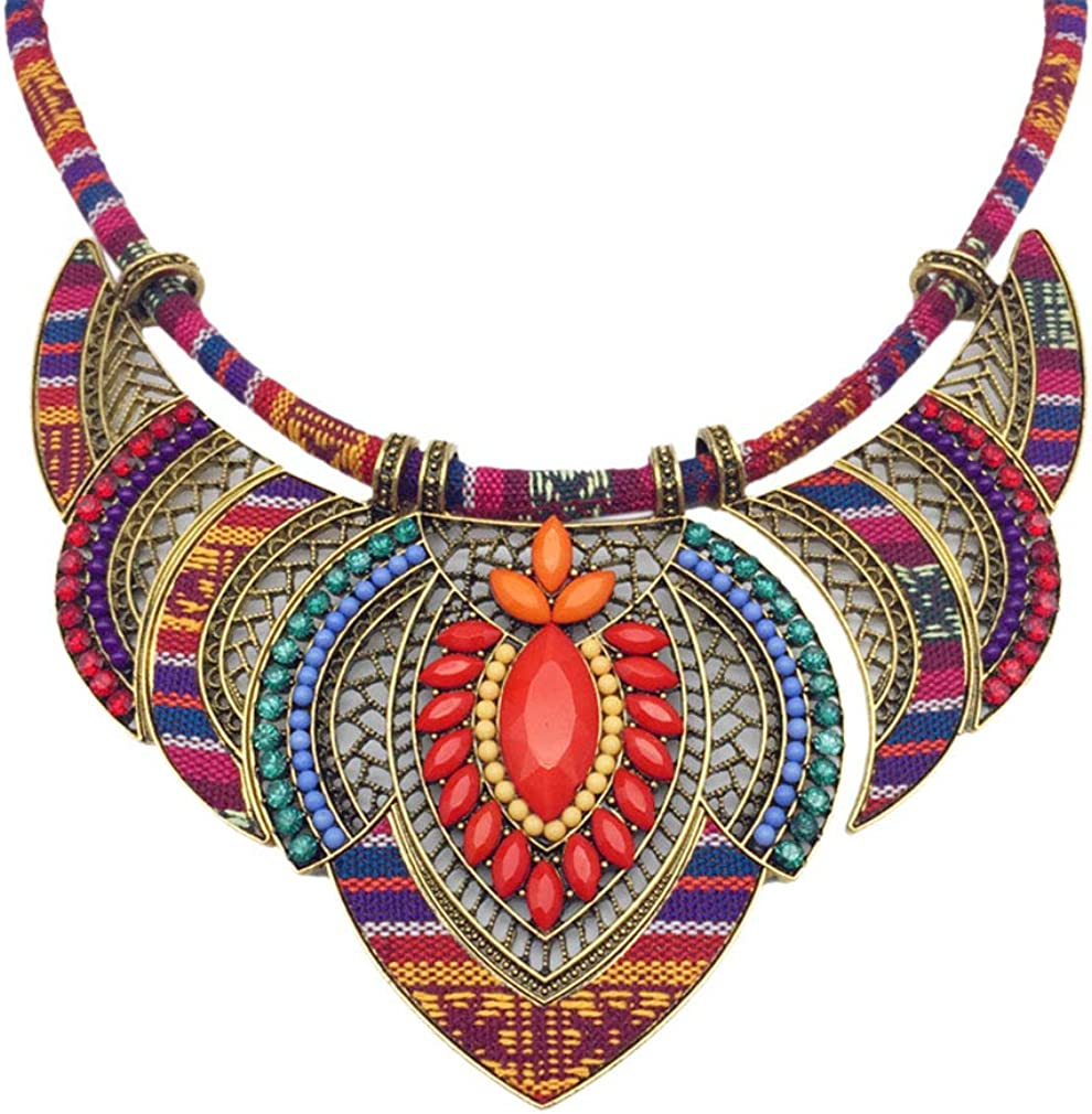 YAZILIND Ethnic Style Chunky Colorful Collar Festival Tribal Beaded Bib Choker Costume Necklace