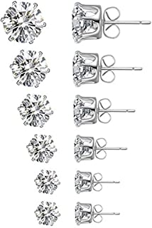 Sohapy Stainless Steel Round Clear Cubic Zirconia Diamond Rhinestone Stud Earrings, Roseate Jewelry, 6 Pairs (Color Silver)