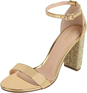 Catwalk Women's Metallic Embellished Heel Sandals