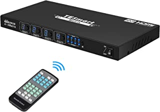 TESmart HDMI Matrix 4x4 Latest Updated 4k@30Hz Powered 4 in 4 Out HDMI Switch Supports PCM, Dolby AC3, DTS5.1, DTS7.1 and ...