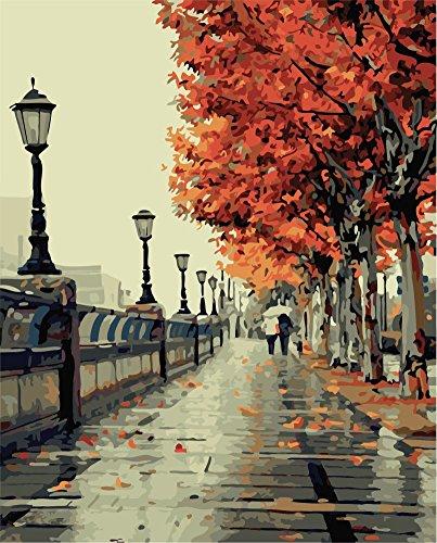 YEESAM ART Neuerscheinungen Malen nach Zahlen für Erwachsene Kinder - Romantische Liebe Liebhaber Straßenansicht Paar 16 * 20 Zoll Leinen Segeltuch (Mit Rahmen, 1)