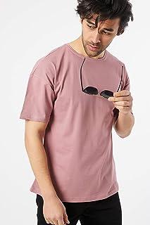 Karpefingo-Erkek Oversize Basic Mürdüm T-Shirt
