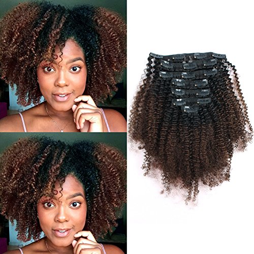 Sassina Ombre Afro Curly Clip in Extensions Double Wefts Human Hair Weave For Black Women 1B Off Black Fading into Light Chocolate Brown 120 Grams 7 Pieces-Set With 17 Clips AC 1BT4 20 Inch