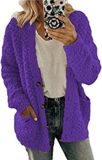 Women Open Front Chunky Knitted Cardigan Sweater Solid Coat with Pockets