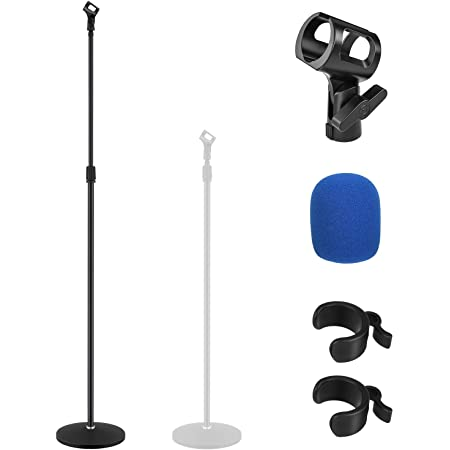 39.9 to 70 MMs-12 Black for Singing Sturdy Stable Metallic Round Base and Mic Holder with Locking Knob Moukey Mic Microphone Stand with Adjustable Height