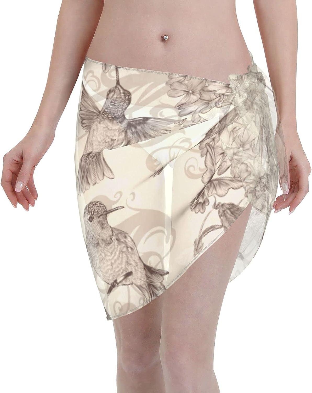 Reindeer Horn Women Short Hummingbird Flower Butterfly Sarongs Cover Ups Beach Chiffon Sarong Bikini Swimwear Black