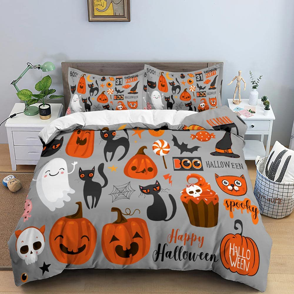 Duvet Covers Queen Size Gray Bedding Halloween Comforte Our shop OFFers the Dedication best service Children