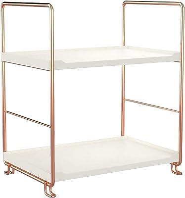 AKOZLIN 2段 浴室用ラック コーナーラック バスルーム 浴室収納 防錆加工 頑丈 省スペース 幅25.2×奥行16.9×高さ28cm 組立简単 ローズゴールド