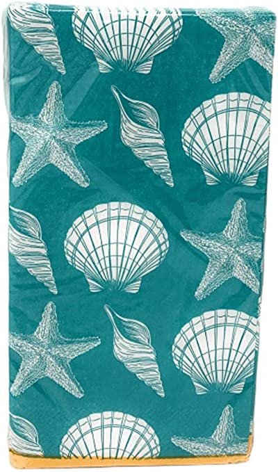 - Summer Seaside by cjldesigns Small Scale Print  Seagulls Crabs  Cloth Napkins by Spoonflower Set of 2 Teal Beach Dinner Napkins