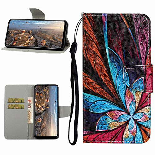 Miagon Hülle für Xiaomi Redmi Note 8T,Handyhülle PU Leder Brieftasche Schutz Flip Case Wallet Cover Klapphüllen Tasche Etui mit Kartenfächern Stand,Feder