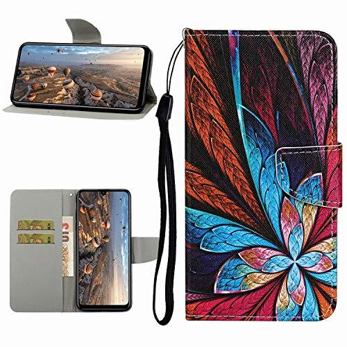 Miagon Hülle für Huawei P Smart 2020,Handyhülle PU Leder Brieftasche Schutz Flip Case Wallet Cover Klapphüllen Tasche Etui mit Kartenfächern Stand,Feder