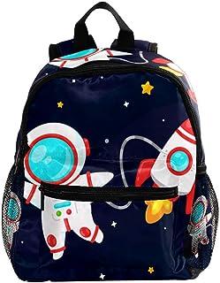 Mochila Escolar Astronauta Cohete De Dibujos Animados Bolsa Escuela Mochila para Niños Ajustable Bolsas de Libros de Kindergarten Niños Niñas Bolsas 25.4x10x30CM
