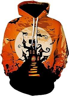 CrazyDay Mens Lounge Pocket Printed Long Sleeve Hoodie Halloween Sweatshirts