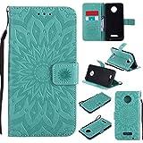 Guran® Custodia in Pelle per Motorola Moto Z Force Smartphone Avere Carta Slot Supporto Protettiva Flip Case Cover-Verde