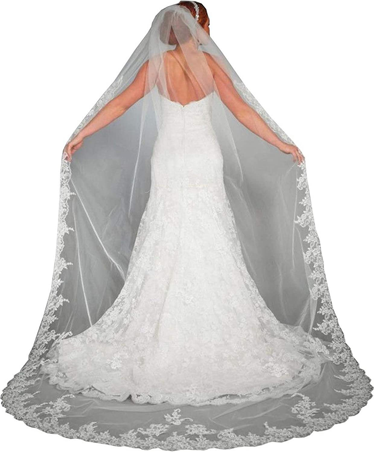 Cibelle Womens 1 Tier 3M Bridal Veils White Ivory Lace Wedding Veils with Metal Comb