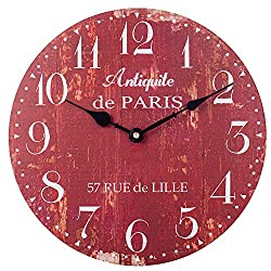 SkyNature Wooden Wall Clock, Silent Non-Ticking Battery Operated Quartz Movement, Large Arabic Numerals Vintage Rustic Decorative Clock for Living, Dining, Bedroom, Kitchen - 18 Inch, Distressed Red