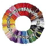 Madejas de Hilos 100 Madejas Hilos de Bordar poliéster algodón Cross Stitch Bordado Hilos de Costura Conjunto