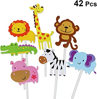 NUOBESTY 42 Piezas Selva Animal Cupcake Topper Pastel de Dibujos Animados Recoger Fruta Postre Topper para Animal Tema Fiesta niños cumpleaños Baby Show Decor