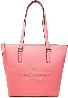 Kate Spade Penny Larchmont Avenue Logo Leather Tote Bag Purse Handbag, Coral Pink (Coral Pink)