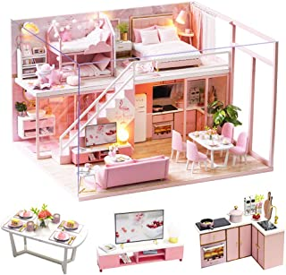 Spilay DIY Miniature Dollhouse Wooden Furniture Kit,Handmade Mini Modern Apartment Model Plus with Dust Cover & Music Box ...
