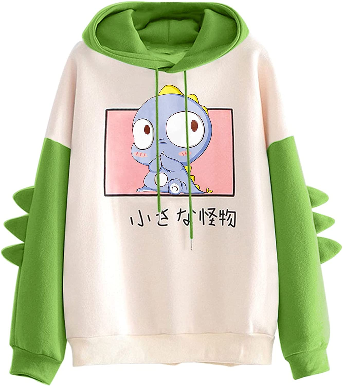 UOCUFY Hoodies for Women, Women's Long Sleeve Tops Cartoon Cute Hoodies Dinosaur Sweatshirt Teens Girls Casual Pullover