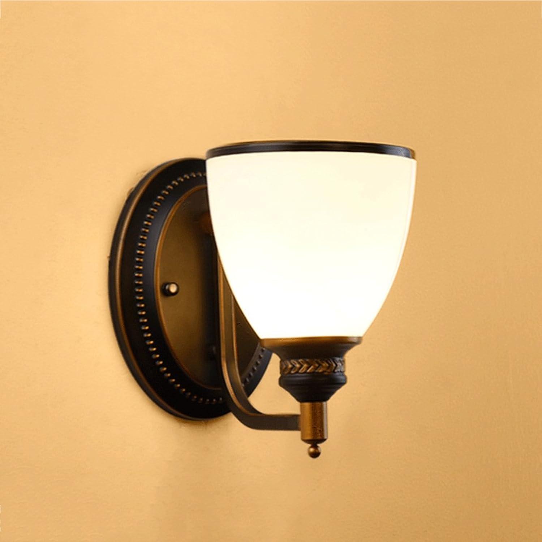 Global-light American Stil Eisen Wandleuchte Pastoral Retro Wohnzimmer Europische Einfache Schlafzimmer Nachttischlampen