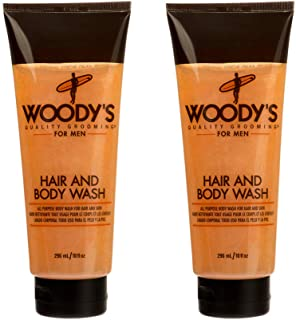 Woody's Hair Shampoo and Body Wash for Men, All Purpose Bodywash for Hair & Skin, 10 oz, 2-Pack