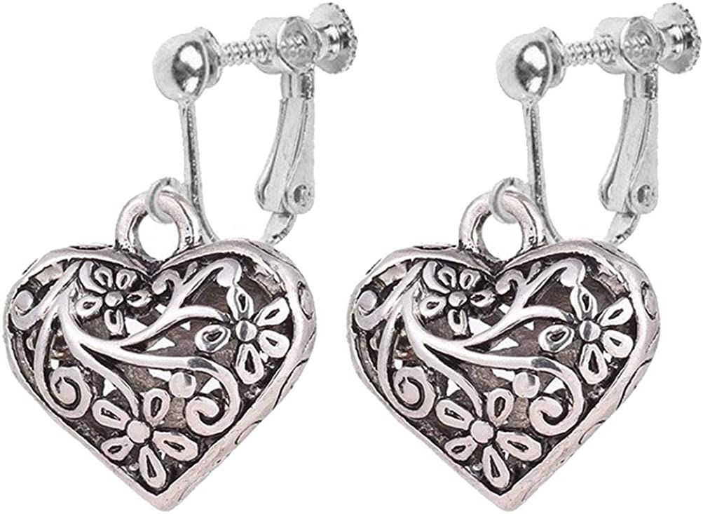 Classic Flower Love Heart Clip on Earrings for Girl and Women Native American Ethnic Dangle Drop