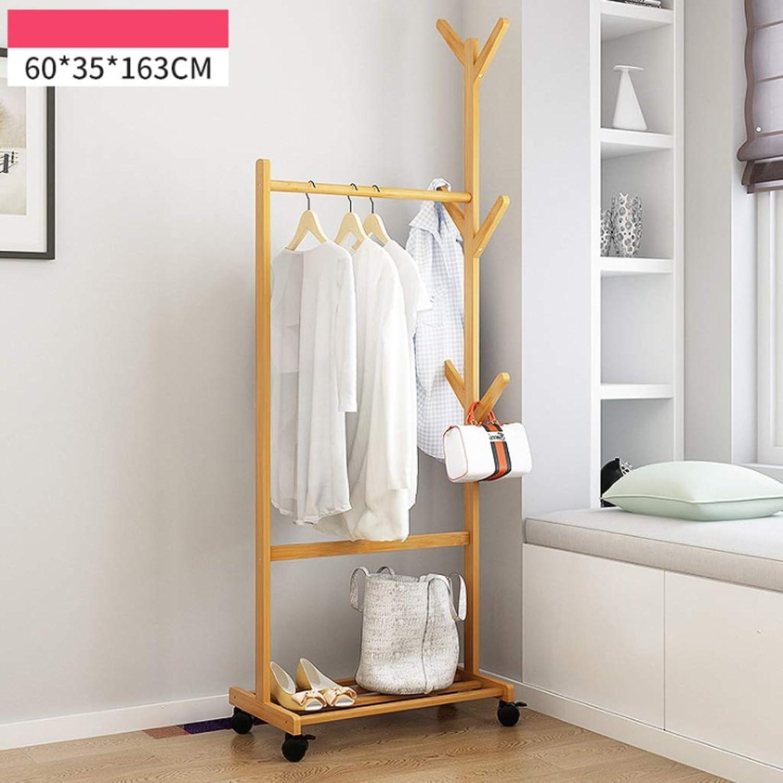 Coat rack hanger Bamboo Floor coat rack wood hanger home bedroom clothes rack simple modern removable hanger for Garage Foyer Bedroom Office 163 cm (H) (Size   60CM)