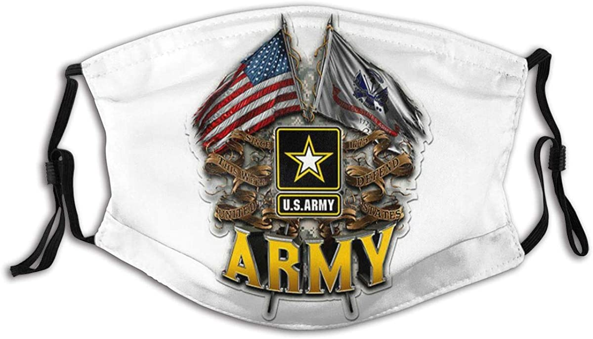 U.S Army Logo Ensign Pattern Comfortable Stylish Mouth Protection Face Mask Balaclavas Unisex Outdoor Dustproof