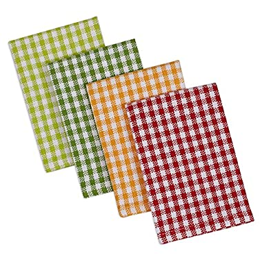 DII Cotton Heavyweight Plaid Dish Cloths Kitchen Gift, 12 x 12  Set of 4, Drying and Cleaning Kitchen Bar Towels for Everyday Cooking and Baking-Pea Patch Check