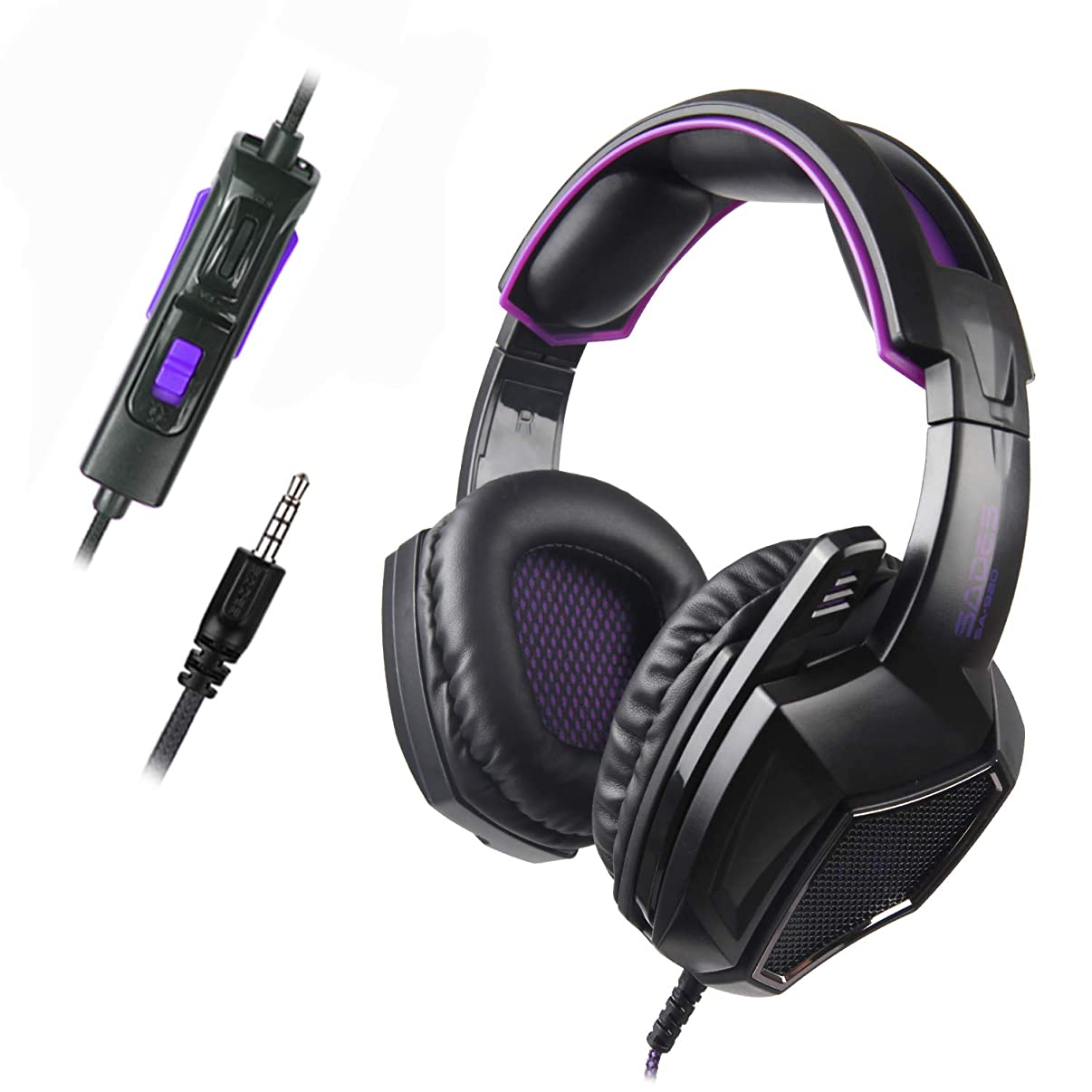 Sades SA920 3.5mm Wired Over Ear Stereo Bass Gaming Headphone Headset with Microphone for New Box one/ PS4/ PC/iOS/Computer/Smart Phones/Mobiles/Laptop/Mac /(Black Purple)